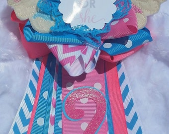 Gender reveal baby shower corsage mum pink and blue