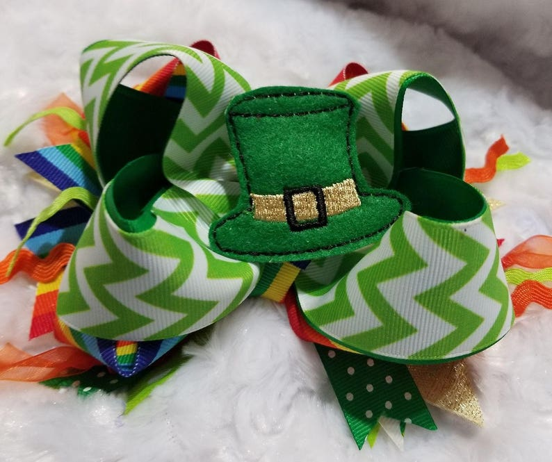 patty day over the top hair bow green