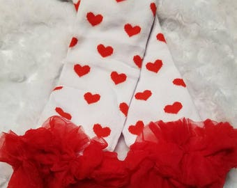 girls leg warmers red hearts