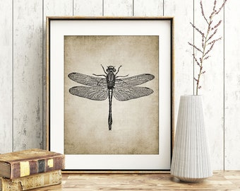 Dragonfly Wall Art Print, Rustic House Decor, Dragonfly Vintage Illustration, Dragonfly Printable Art - Single Print #19 INSTANT DOWNLOAD
