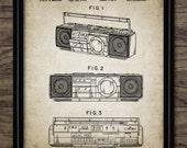 Boom Box Patent Print - Retro 90 39 s Music Print - 1990 Stereo Radio Patent - Cassette Radio Design - Single Print 1444 - INSTANT DOWNLOAD