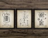 Vintage Coffee Making Wall Art Set Of 3, Coffee Percolator, Coffee Bean, Coffee Mill, Coffee Pot, Kitchen Wall Art 3071 INSTANT DOWNLOAD