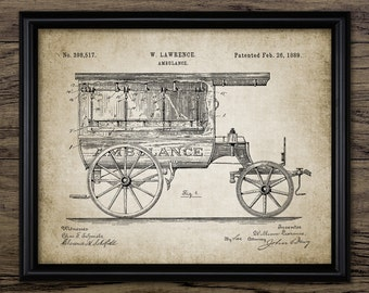 Vintage Ambulance Design Patent Invention EMT Gifts Paramedic Gifts Emergency Vehicle EMS Gift Medical Wall Art First Responder