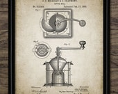 Vintage Coffee Mill Patent Print - 1885 Coffee Mill Illustration - Coffee Making Design - Single Print 584 - INSTANT DOWNLOAD