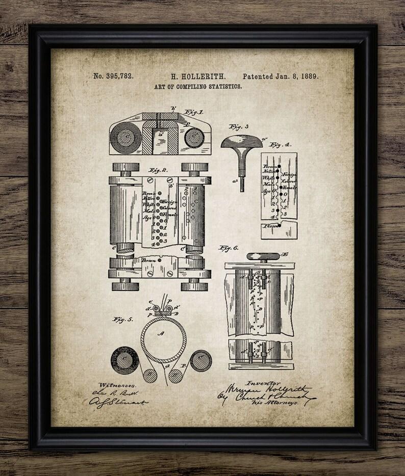 Vintage Computer Patent Print - 1889 Statistic Computing Machine - Office  Computer Equipment Design - Single Print #661 - INSTANT DOWNLOAD