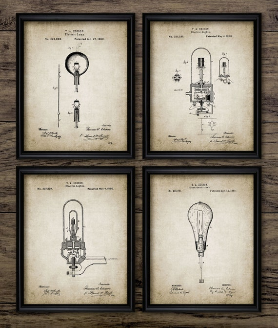 Edison Light Bulb Inventions Set Of 4 Light Bulb Patent Light Bulb Design Thomas Edison Set Of Four Prints 1957 Instant Download