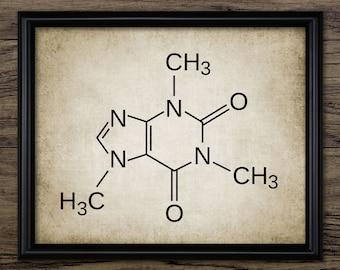 Caffeine Print - Caffeine Illustration - Caffeine Molecule - Chemistry - Digital Art - Printable Art - Single Print #492 - INSTANT DOWNLOAD