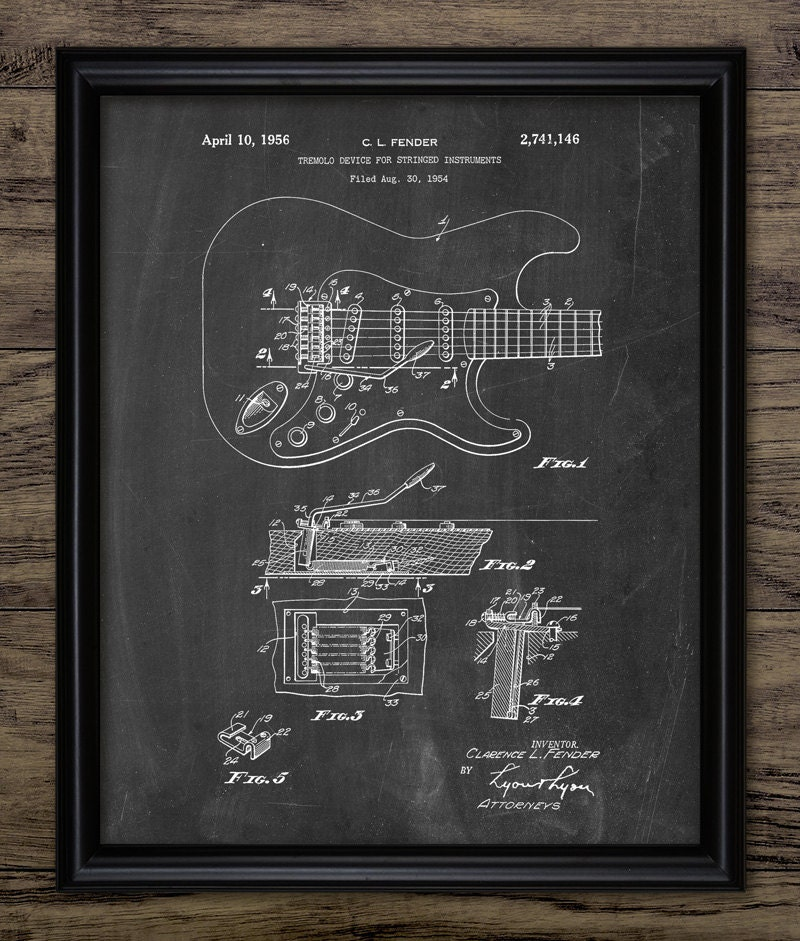 Electric Guitar Tremolo Device Patent Print - 1956 Electric Guitar Design -  Musical Instrument - Single Print #863 - INSTANT DOWNLOAD