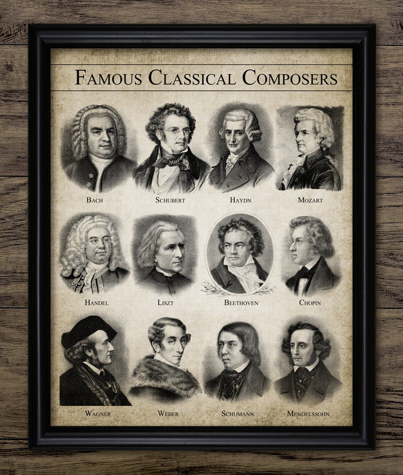 Classical Composers Print - Classical Music - Music Room Decor - Musician -  Music Student Gift Idea - Single Print #2372 - INSTANT DOWNLOAD