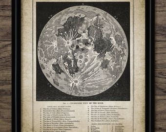 Vintage Full Moon Art Print - Moon Map Reproduction - Lunar Astronomy - Geography Moon Chart - Moon Topography Print #2453 INSTANT DOWNLOAD