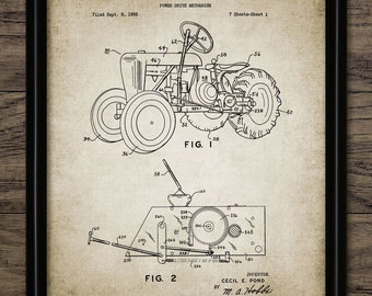 Vintage Tractor Patent Print - 1961 Tractor Design - Farming Poster - Ranch Decor - Farming - Single Print #1235 - INSTANT DOWNLOAD