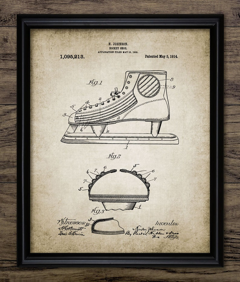 e4804e9a4d75e Vintage Ice Hockey Shoe Patent Print - 1914 Ice Hockey Shoe Design - Hockey  Skate - Single Print #897 - INSTANT DOWNLOAD