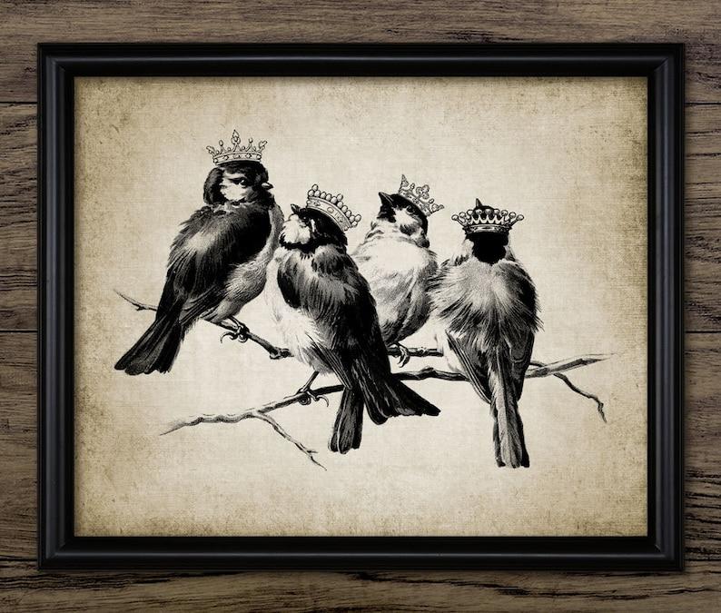 Rustic Home Decor Antique Bird Illustration Art Single Print #397 -INSTANT DOWNLOAD Vintage Birds in Crowns Print Antique Chic Birds