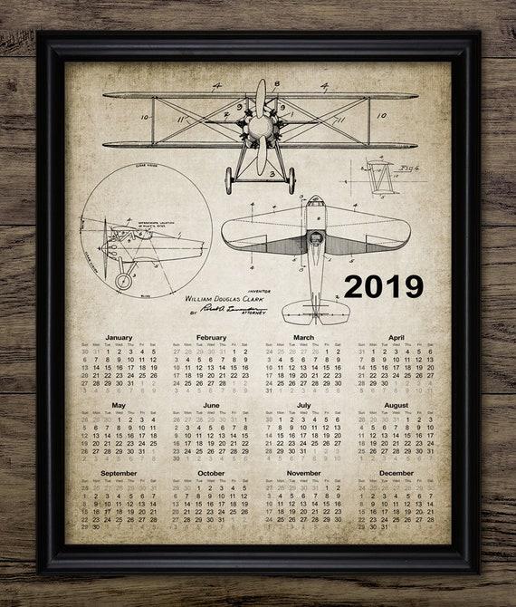 jahrgang wand kalender 2019 doppeldecker flugzeug druck etsy. Black Bedroom Furniture Sets. Home Design Ideas