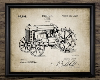 Vintage Ford Tractor Patent Print - 1919 Tractor Design - Farming Poster - Ranch Decor - Farming - Single Print #2349 - INSTANT DOWNLOAD