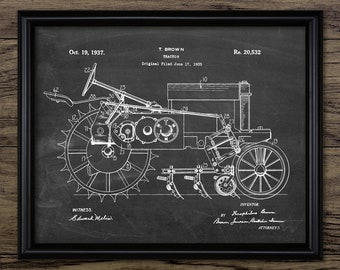 Vintage Tractor Patent Print - 1937 Tractor Design - Farming Poster - Ranch Decor - Farming - Single Print #2350 - INSTANT DOWNLOAD