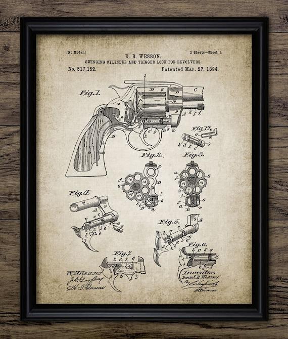 Vintage Revolver Patent Print - 1894 Wesson Revolver Design - Weapon -  Firearm - Pistol - Hand Gun - Single Print #991 - INSTANT DOWNLOAD