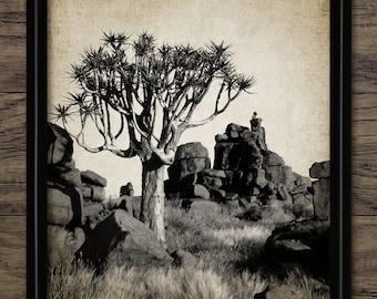 Vintage Desert Print - Desert Wall Art - Desert Landscape Art - Digital Art - Printable Art - Single Print #805 - INSTANT DOWNLOAD