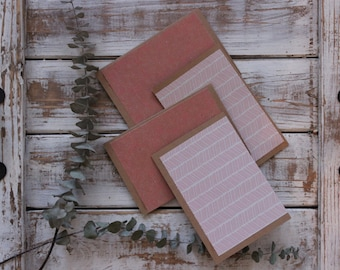 Four Handmade Blank Cards + Brown Paper Envelopes