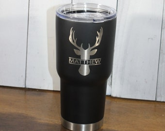 RTIC 20 oz Tumbler/Personalized/Double Wall Stainless Steel/Black/Buck/Deer/Hunter/Monogram/Christmas Gift/Fast Shipping