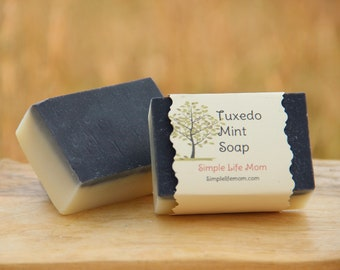 TUXEDO MINT SOAP - Handmade All Natural, Herbal soap, with pepperint essential oils, actiavated charcoal. Cleansing, detoxing, nourish soap.