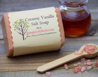 SALT SOAP SPA Bar - 100% all natural, detoxing, creamy vanilla scent, essential oils, Handmade, cold processed, Herbal, Himalayan Sea Salt