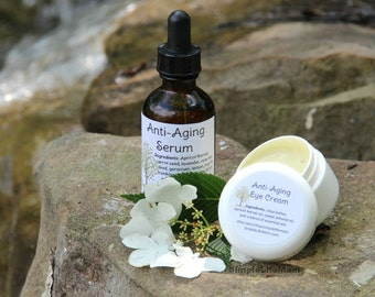 ANTI AGING GIFT Set - 100% natural anti wrinkle serum and eye cream, organic, night cream, oil, nourishing, with essential oils.