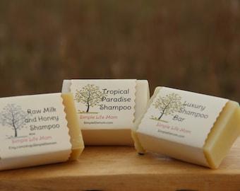 SHAMPOO GIFT SET - 3 Herbal Shampoo Bars, 100% natural, organic, gift for her, bath and body set for natural living
