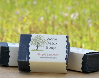 ACNE DETOX SOAP with Tea Tree and Activated Charcoal - 100% all natural, organic, cold processed soap with essential oils