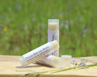 NATURAL LIP BALM - organic, Shea Butter, Cocoa butter, Essential oil, natural makeup, cosmetics, gift for her or him, organic makeup, smooth
