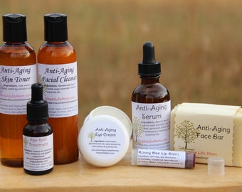 ANTI AGING GIFT Set - 100% Natural, Organic, Anti Wrinkle serum and cream, Beauty Gift Set, essential oils, toner, age spot