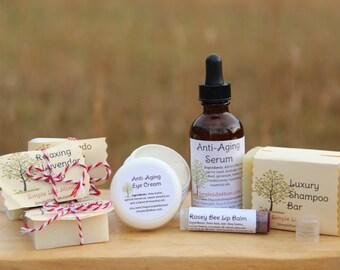 BEAUTY GIFT SET - 100% natural, organic skin care, shampoo, anti aging serum, night cream, eye cream, lip balm, soap samples, essential oils