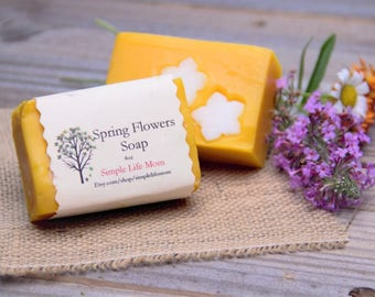 SPRING FLOWERS HERBAL soap- Handmade Natural Soap made with essential oils, natural coloring, organic cold processed soap bar