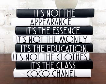 IT'S NOT THE Appearance It's the Essence, Coco Chanel Decorative Book Set, Coco Chanel Quote, Chanel Book Set, Chanel Decor, Book Lover