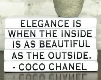 ELEGANCE IS WHEN the Inside is as Beautiful as the Outside, Coco Chanel Quote Decorative Book Set, Coco Chanel Decorative Quote Books, Decor