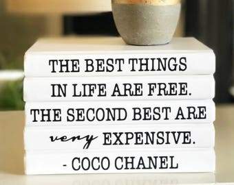 THE BEST THINGS In Life Are Free, Coco Chanel Decorative Book Set, Coco Chanel Quote Books, Chanel Book, Decorative Books, Book Lover