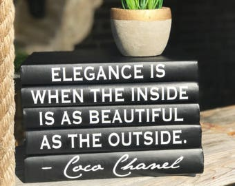 ELEGANCE IS WHEN The Inside, Coco Chanel Decorative 5-Book Set, Coco Chanel Books with Quote, Chanel Book Set, Decorative Books, Book Lover