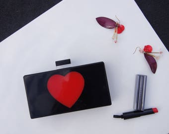 Black Heart Acrylic Clutch