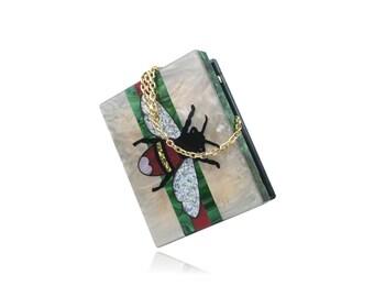 Queen Bee Champagne Acrylic Box Clutch Handbag