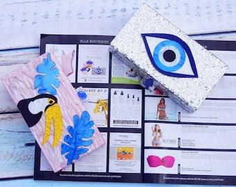 Evil Eye Silver Gliter Box CLUTCH