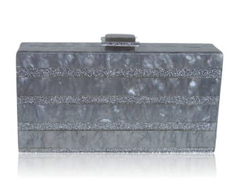 Milanblocks Gray Silver Stripe Acrylic Box Clutch