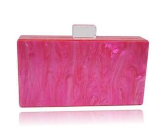 Electric Pink Acrylic Box Clutch