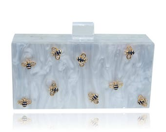 Bee Acrylic Box Clutch