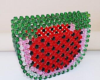 watermelon vintage bead bag bead clutch woven ark handbag