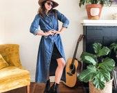 Vintage 90s Long Jean Dress Jacket Long Sleeve Denim Shirt Dress Long Denim Maxi Dress Button Down 90s Minimalist Shirtdress S