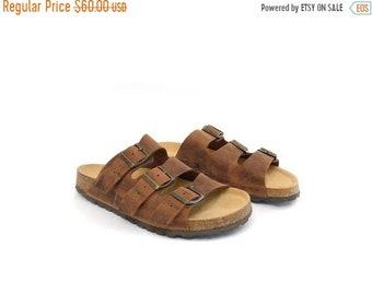 1dd66eaf0b71 Vintage 90s Nevada Slip On Sandals   Birkenstock Style Buckle Slides    Rubber Cork Sole Bohemian Hippie Sandals   Gladiator Casual Slip Ons