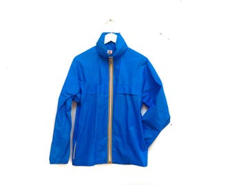 91d117b86d6e Vintage 80s K-WAY windbreaker raincoat   pvc waterproof jacket   bright  blue rain jacket   80s Windbreaker   90s kway solid blue jacket xs s
