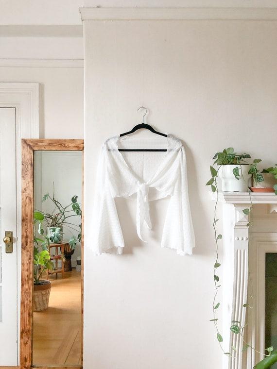 Vintage 60s White Flutter Sleeve Gypsy Boho Blous… - image 4