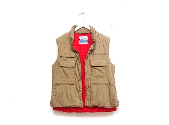 Vintages 80s Utility Vest / Mens Cargo Vest / Tan