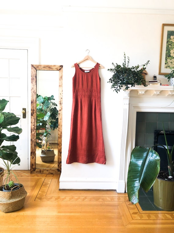 Vintage 90s Burnt Orange Linen Long Maxi Dress